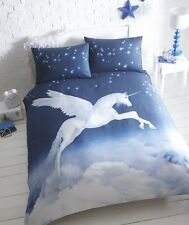 Flying Unicorn Double Duvet Cover and Pillowcase Bed Set, Blue