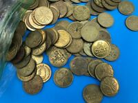 """Lot of 50 VINTAGE Cici's Pizza:  Brass Game Tokens - SIZE 0.984"""" CICI"""