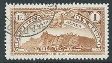 1931 SAN MARINO USATO POSTA AEREA VEDUTA 1 LIRA - M15