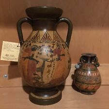 8.5in Nina Ceramic Greek Vase Reproduction 450bc Handmade Painted Brown Amphora