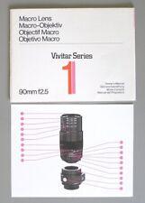 Instruction Manual for Vivitar Series 90mm F2.5 Macro Lens (famous 1976 model)