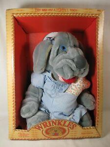 "Wrinkles 17"" Gray Girl Dog Puppet in Dress #6002 Ganz Bros. Coleco 1981 NEW NIB"