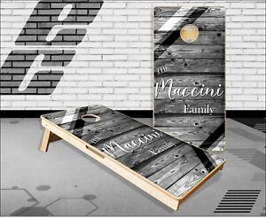 Family White Wood Stripes Cornhole Boards Bean Bag Toss Game