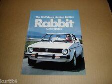 1983 Volkswagen VW Rabbit convertible Wolfsburg Limited Edition sales brochure