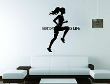 Girl Sport Wall Mural Vinyl Decal Sticker Decor Motion Is Life Gym Fitness Woman