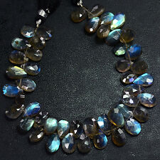 "Madagascar Blue Flash Labradorite Faceted Flat Pear Briolette Bead 8"" S"