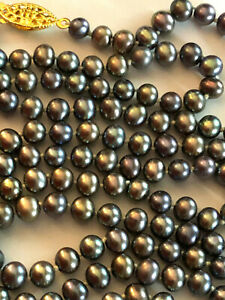 """Peacock Freshwater Pearl Necklace Strand 5-6mm Knotted Gold Plated 37"""" #1647"""