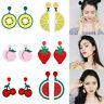 Women Lemon Cherry Fruit Vegetables Ear Stud Pendant Dangle Earrings Jewelry