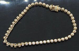 14K yellow gold elegant 1.0CT diamond line tennis bracelet