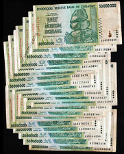 20 x 50 Million Zimbabwe Dollars Bank Notes 1/5th Bundle AA 2008 Before Trillion