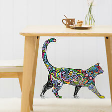 ABSTRACT COLOUR WALKING CAT ANIMAL WALL STICKER VINYL TRANSFER MURAL