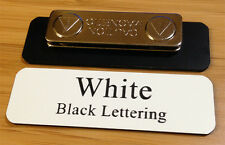 """Employee Name Badge 2.5""""x0.75"""" White / Black Letters,Corners rounded, + Magnet"""