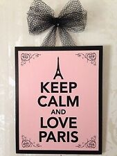 """KEEP CALM AND LOVE PARIS"" Pink Plaque Wall Decor Sign French"