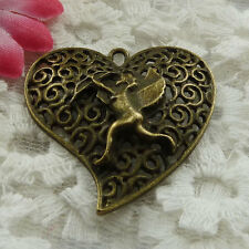 Free Ship 51 pieces bronze plated angel pendant 35x34mm #1008