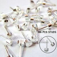 98 Pairs Stainless Steel Studs Earrings Ear Body Ring For Piercing Gun Silver