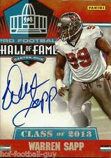 WARREN SAPP SIGNED 2013 NATIONAL TREASURES CARD~FOOTBALL HALL OF FAME~HOF AUTO