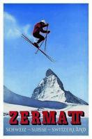 Zermatt Skifahrer Schweiz Switzerland Blechschild Schild Tin Sign 20 x 30 cm