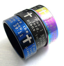 100 Jeremiah 29:11  cross Stainless steel Rings Jewelry lots blue black rainbow