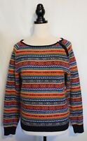 TOMMY HILFIGER ~ Multi Coloured Fair Isle Knit Cotton Poly Jumper w Zip Design L