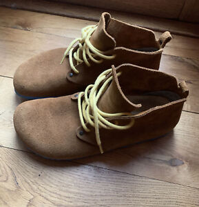 Birkenstock's Maine Mink Suede Lace Up Shoes With Blue Soles UK 9 EU 43 narrow