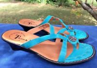 SALE @ THINK Leather Aqua Pewter High Heels Jesus Toe Sandals Shoes Women Sz 6.5