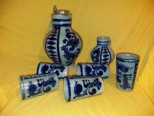 Merkelbach 484/7, 3ltr. Krug m. estaño tapa Westerwald Antik azul bempel 7 piezas