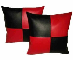 Pillow Leather Cushion Cover Decor Set Genuine Soft Lambskin Black All Sizes 8