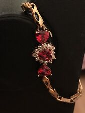 Yellow Gold Red Ruby And Diamonds Bracelet
