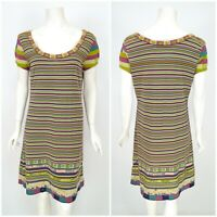 Womens IVKO Striped Pattern Dress Knit Cotton Short Sleeve Size 40 / UK14