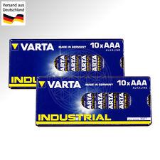 20 VARTA INDUSTRIAL AAA Micro Batterien 1,5V LR03 AM4 LR3 MN2400 4003 Ministilo