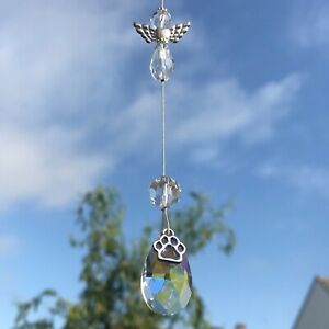 New Hanging Sun Catcher Pet Loss Memorial ~ Angel and Paw on a Glass Tear Drop