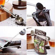 Stainless steel coffee measuring spoon scoop clip 1 cup ground bag seal