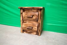 Torched Log Nightstand 2 Drawers -$399- Dovetail Drawers,Finished, Free Shipping