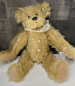 """Annette Funicello Bear Mohair Jointed Panda 13"""" w/ Tags Lace Collar Pearl Button"""