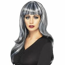 Ladies Sinister Siren wig Black Grey Long Wavy Frange Streak Fancy Dress Hair BN