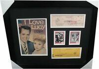 Lucille Ball & Desi Arnaz Signed Personal Checks Framed w/ Comic I Love Lucy B2
