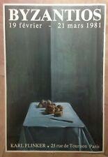 BYZANTIOS 1981 AFFICHE ORIGINALE EXPOSITION GALERIE KARL FLINKER PARIS