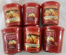 Yankee Candle Votives: APPLE PUMPKIN Wax Melts Lot of 6 Red Brown Wax New