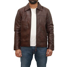 Mens Dark Brown Leather napa Finish Casual Smart Fitted Zipped Bomber Jacket