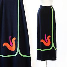 vintage 60s 70s black neon floral tulip boho hippie party maxi dress skirt M