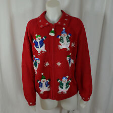 Heirloom Collectibles Christmas Sweater Cardigan Snowman Large Sequin Red
