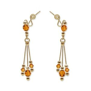 Ear Climbers Ear Crawlers Sweeps Earrings Gold with Swarovski Topaz Crystals 249