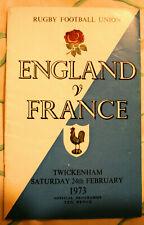 Enland v France International Rugby Union Programme. 1973.