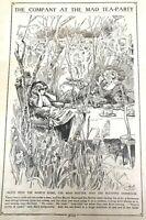 Antique Alice In Wonderland Book Illustration Page, Mad Hatter Tea Party Print
