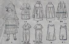 "VINTAGE 16"" ANTIQUE DOLL CLOTHES PATTERN 411"