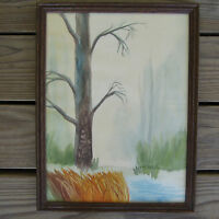 Vtg Watercolor Painting Tree River Landscape Scene Gonzales Co Texas K. Hallmark