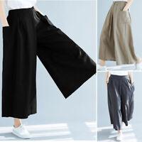 ZANZEA Femme Décontracté lâche Taille elastique Jambe Large Pantalon Oversize