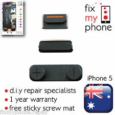 Black 3 in 1 (Side Volume Mute Switch Top Power Button Metal) Pack for iPhone 5