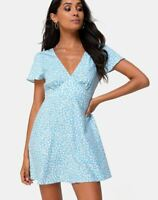 MOTEL ROCKS Elara Dress in Ditsy Rose Blue Small S  (MR64)