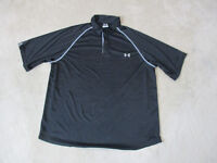 Under Armour Polo Shirt Adult Medium Black Gray Golfer Rugby Dri Fit Casual Mens